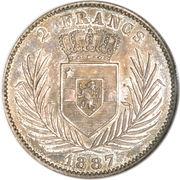 2 Francs - Léopold II – reverse