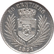 50 Centimes - Léopold II – reverse