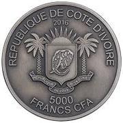 5000 Francs CFA (Lion) – obverse