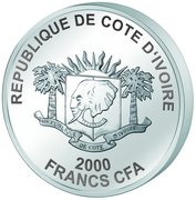 2000 Francs CFA (Taj Mahal) – obverse