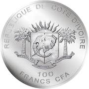 100 Francs CFA (Rhino) – obverse