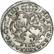 1 Grossus - Carl of Saxony (Mitau; curved shields without wreath) – reverse