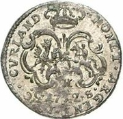 1 Grossus - Carl of Saxony (Mitau; curved shields with wreath) – reverse