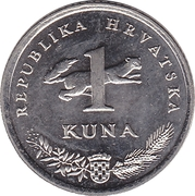 1 Kuna (Latin text; 20th anniversary of Kuna) -  reverse