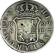 2 Reales (Countermark on Spanish - Seville 2 Reales, KM#460.3) – reverse