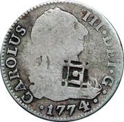 2 Reales (Countermark on Spain - Madrid 2 Reales KM# 412.1) – obverse