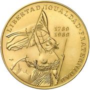 100 Pesos (200th Anniversary of French Revolution - Liberty) – reverse