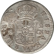 2 Reales (Countermark on Spain - Seville 2 Reales KM# 412.2) – reverse