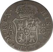2 Reales (Countermark on Spanish - Madrid 2 Reales, KM#474.3) – reverse