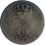 2 Reales (Countermark on Spanish - Madrid 2 Reales, KM#460.2) – reverse