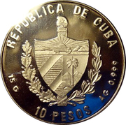 10 Pesos (Colossus of Rhodes) – obverse