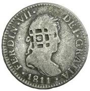 2 Reales (Countermark on Spanish - Cadiz 2 Reales, KM#460.1) – obverse