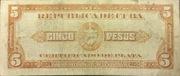 5 Pesos (Silver Certificate Issue) – reverse