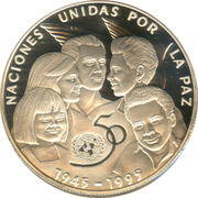 10 Pesos (50th. Anniversary of United Nations) – reverse