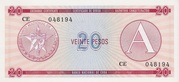 """20 Pesos """"A"""" (Foreign Exchange Certificate) – obverse"""