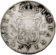 2 Reales (Countermark on Spanish 2 Reales KM#464) – reverse