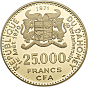 25 000 Francs (Independence) – obverse