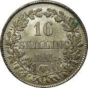 16 Skilling Rigsmønt - Frederik VII – reverse