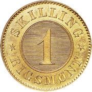 1 Skilling Rigsmønt - Christian IX – reverse