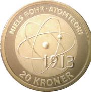 20 Kroner - Margrethe II - Niels Bohr and the Bohr Model -  reverse