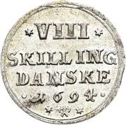 8 Skilling Dansk - Christian V – reverse