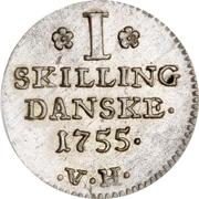 1 Skilling Dansk - Frederik V -  reverse