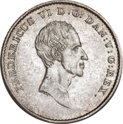1 Rigsbankdaler / ½ Speciedaler - Frederik VI (Type 1; straight neck cut) – obverse