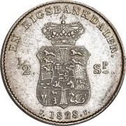 1 Rigsbankdaler / ½ Speciedaler - Frederik VI (Type 1; straight neck cut) – reverse
