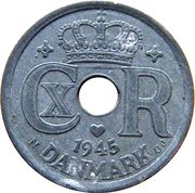 25 Øre - Christian X (German Occupation) -  obverse
