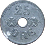 25 Øre - Christian X (German Occupation) -  reverse