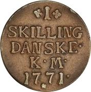 1 Skilling Dansk - Christian VII -  reverse