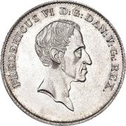 1 Rigsbankdaler / ½ Speciedaler  - Frederik VI (Type 2; broken neck cut) – obverse