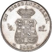 1 Rigsbankdaler / ½ Speciedaler  - Frederik VI (Type 2; broken neck cut) – reverse