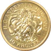 10 Kroner - Margrethe II (4th portrait; The Shadow) -  reverse