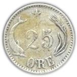 25 Øre - Christian IX -  reverse