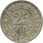 25 Øre - Frederik VIII -  reverse