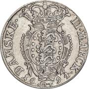 2 Mark Dansk - Christian V (Type II; laurel wreath) – reverse