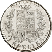 "1 Speciedaler ""Våbenspecie"" - Frederik VII – reverse"