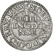 1 Skilling Dansk - Christian IV (Oval shield; date in legend) – reverse