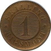 1 Skilling Rigsmønt - Frederik VII – reverse