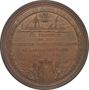 Medal - 25th anniversary of the United Steamship Company – obverse
