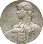 Medal - 50th anniversary of the Danish farmers bank (Danske Landmandsbanks) – obverse