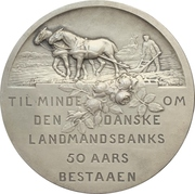 Medal - 50th anniversary of the Danish farmers bank (Danske Landmandsbanks) – reverse