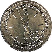 20 Kroner - Margrethe II - H. C. Ørsted & Electromagnetism -  reverse