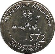 20 Kroner - Margrethe II - Tycho Brahe & Stella Nova -  reverse
