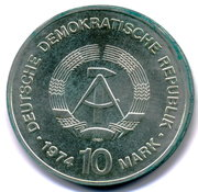 10 Mark (25th anniversary of the GDR) – obverse