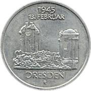 5 Mark (Destroyed Frauenkirche Dresden) – reverse