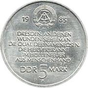 5 Mark (Destroyed Frauenkirche Dresden) – obverse