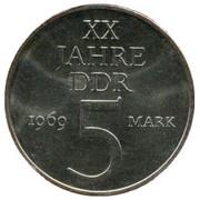 5 Mark (20 Years of GDR - Copper-Nickel) – reverse