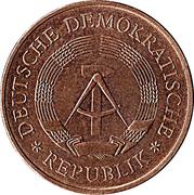 5 Mark (20 Years of GDR - Nickel-bronze) – obverse